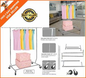 Clothing Garments Rack Heavy Duty Rolling Collapsible Commercial Grade Chrome