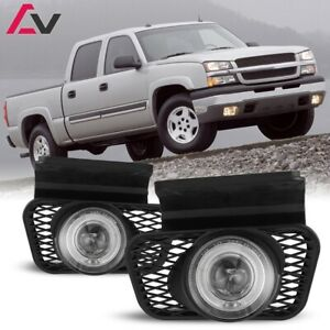 For Chevy Silverado 03 07 Clear Lens Pair Bumper Fog Light Lamp Halo Projector