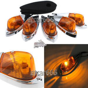 5pc Teardrop Top Roof Amber Cab Marker Yellow Lights For Ford Truck Semi Trailer