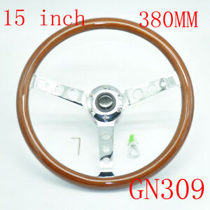 Brown Universal Classic Real Mahogany Wood Steering Wheel 380mm 15inch Gn309
