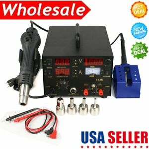 853d Soldering Iron Station Hot Air Rework Smd Dc Power Supply Tips Usa Stock Ma