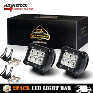 2x 4inch 27w Round Led Work Light Spot Off Road Fog Driving 4wd Boat Jeep Bumper