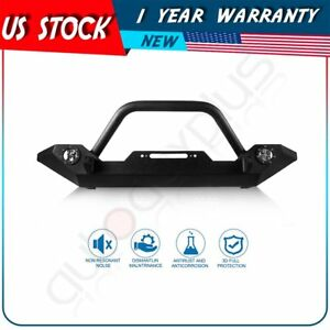Textured Front Bumper Guard Winch Plate For 1997 Jeep Wrangler Tj Yj Lights