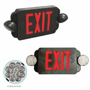 Etoplighting 2 Pack Led Exit Sign Emergency Light Red Lettering Combo With