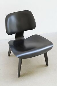Vintage Eames Lcw Molded Plywood Lounge Chair Ebonized