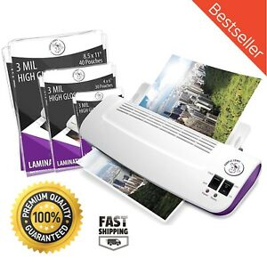 Thermal Hot Cold Laminator Machine 100 Pack Laminating Pouches Sheets Warms Up