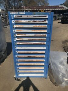 Stanley Vidmar 15 Drawer Cabinet 59 In H 28 In W 30 In L With Key