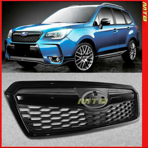 Black Front Radiator Grille Grill For 14 18 Subaru Forester Sti Style Upper Trim