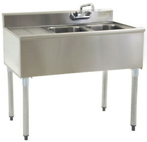 Stainless Steel 2 Compartment Underbar Sink 36 X 20 With Left Drainboard