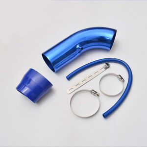 3 Car Cold Air Intake Induction Pipe Kit Filter Tube System Blue Universal 76mm