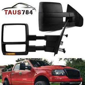 Pair Of Towing Mirrors For 2004 2006 Ford F150 Extendable Power Heated Signal