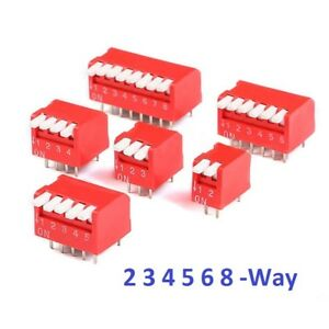 Red 2 3 4 5 6 8 Way Piano Dip Dil Toggle Switch Pitch 2 54mm Pcb Mounting