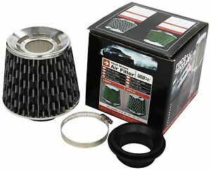Car Universal Sports Air Filter Carbon Look Check Flag Style With 4 Adaptors