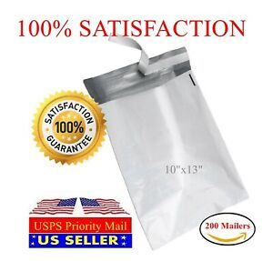 200 10 x13 Light Poly Mailer 2 Mil Shipping Mailing Packaging Envelope Bags