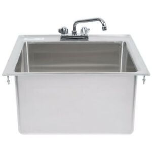 20 X 16 X 12 Stainless Steel Drop In Sink With 8 Faucet Commercial Utility