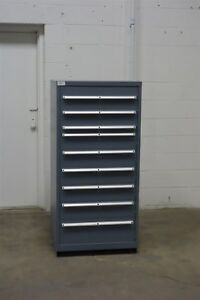 Used Lista 9 Drawer Cabinet Industrial Tool Shop Storage 1244 Vidmar