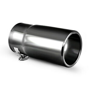 Car Muffler Exhaust Tip Gloss Black Stainless Steel Tail Pipe Fit 2 5 Inch Pipe