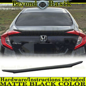 2016 2017 2018 Honda Civic 4dr Matte Black Lip Factory Style Spoiler Trunk Wing