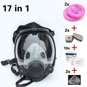 17 In1 3m 6800 Full Face Respirator Facepiece Gas Mask W Filters Cartridges Set