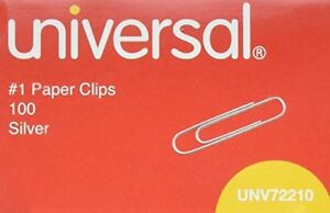 Case Of 120 Boxes Universal 72210 1 Paper Clips Smooth Finish Silver 100 box
