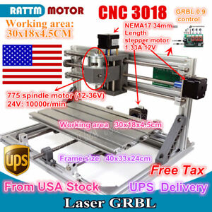 us Stock 3 Axis 3018 Desktop Diy Mini Cnc Router Kit Engraver Milling Machine