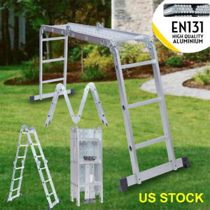12 5ft Aluminum Folding Ladder Telescopic Ladder Practical Step Joints paltform