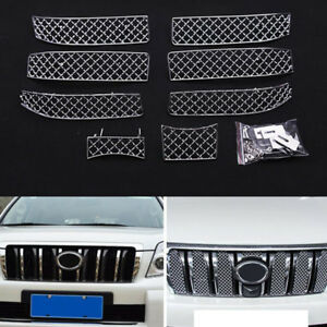Fit For Toyota Prado Fj150 2010 13 Stainless Steel Silvery Front Mesh Grille