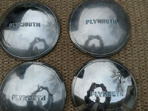 Vintage Hubcaps 1938 39 Plymouth Dog dish Style Rat Rod Set Of 4 Used