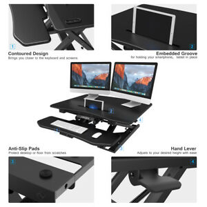 Height Adjustable Standing Desk Converter Ergonomic Sturdy Steel Computer Table