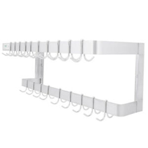 36 Hanging Pot Rack Pan Holder Wall Mounted Commercial Stainless Steel W Hooks
