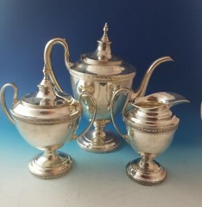 3 Piece Vintage Pairpoint Silverplate Tea Or Coffee Set