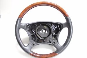 W220 W215 Mercedes Driver Steering Wheel Black Leather Wood S Class Cl Class Oem