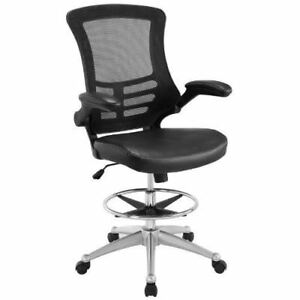 Attainment Drafting Chair In Black Reception Desk Chair Tall Office Comfortable