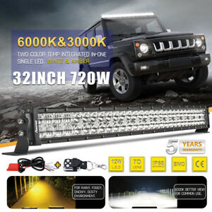 Curved Osram 32inch Led Work Light Bar Combo Amber White Dual Color Offroad 30