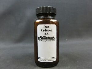 Iron Reduced Powder Mallinckrodt 1 Pound In Vintage Perscription Bottle