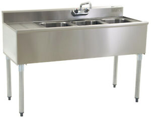 Stainless Steel 3 Compartment Underbar Sink 48 X 20 With Left Drainboard