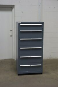Used Lista 6 Drawer Cabinet Industrial Tool Parts Storage 1251 Vidmar