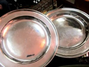 Pair Rare English Georgian Silver On Pewter Chargers Signed By Richard King