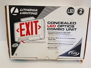 Lithonia Lighting Concealed Led Exit Sign emergency Light Combo Free Shipping