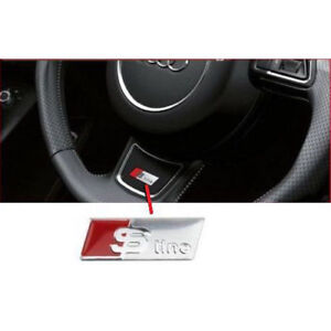 S Line Steering Wheel Sticker Decal Emblem For All Audi Models Chrome Silver