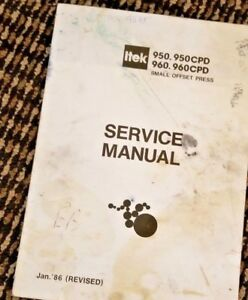 Ryobi 2700 2800 Or Itek 950 960 Parts Manual Repair Manual Operators Manual