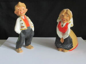 Henning Norway Hand Carved Wood Happy Couple Figurines