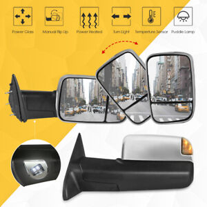 Pair Power Heated Towing Mirror W Temp Puddle For 09 18 Ram 1500 10 18 2500 3500