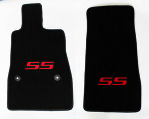 New Black Floor Mats 2016 2021 Camaro Embroidered Ss Logo In Red On Both Pair