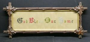 Antique Eastlake Wood Backed Gilded Insert Frame Orig Glass Antique Sampler
