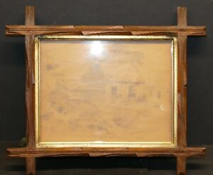 Antique Wood Backed Gilded Insert Eastlake Frame W Original Glass 9 X 7