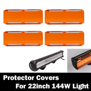4x Snap On Amber Lens 36w Cover For 22 144w 12 72w Cree 7 Led Work Light Bar