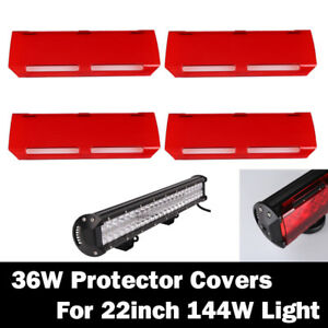 4x Snap On Red 36w Lens Cover For 22 Inch Cree 144w Led Work Light Bar 12 7