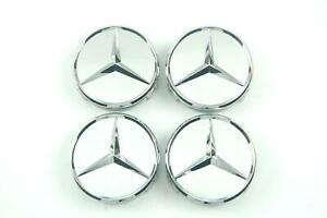 Genuine Wheel Center Hub Cap Star Silver Chrome Covers 4x Set Mercedes B66470202