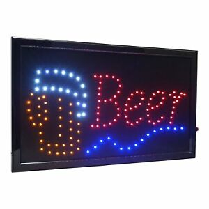 Large Beer Bar High Visible Led Light Business Open Sign Chain Switch 21 5 x13